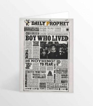 Carte de voeux lenticulaire La Gazette du Sorcier Le Garçon qui a survécu,  Harry Potter, Boutique Harry Potter, The Wizard's...