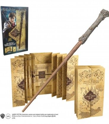 Baguette Harry Potter et carte du Maraudeur sous Blister,  Harry Potter, Boutique Harry Potter, The Wizard's Shop