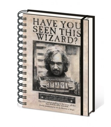 Carnet A5 Harry Potter Wanted Sirius Black,  Harry Potter, Boutique Harry Potter, The Wizard's Shop