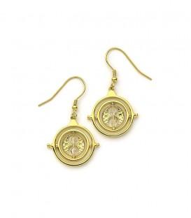Boucles d'oreilles pendantes retourneur de temps en argent plaqué or