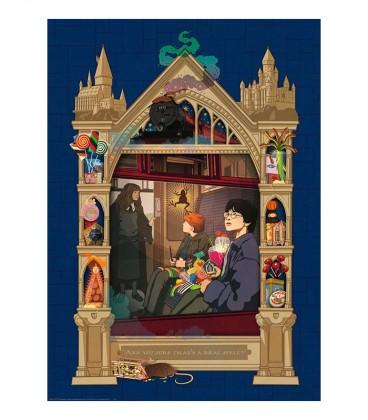 """Puzzle """" Harry Potter en route vers Poudlard"""" 1000 pièces par Minalima,  Harry Potter, Boutique Harry Potter, The Wizard's Shop"""