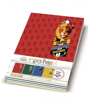 Lot de 4 cahiers Harry Potter Grand Carreaux Seyes 17 x 22 cm,  Harry Potter, Boutique Harry Potter, The Wizard's Shop