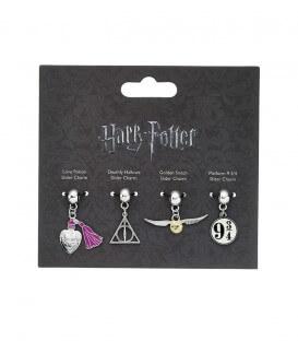 Ensemble de charms Harry Potter 2 : Vif d'or - Reliques de la mort - Potion - Quai 9 3/4