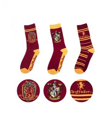 Lot de 3 paires de chaussettes Gryffondor,  Harry Potter, Boutique Harry Potter, The Wizard's Shop